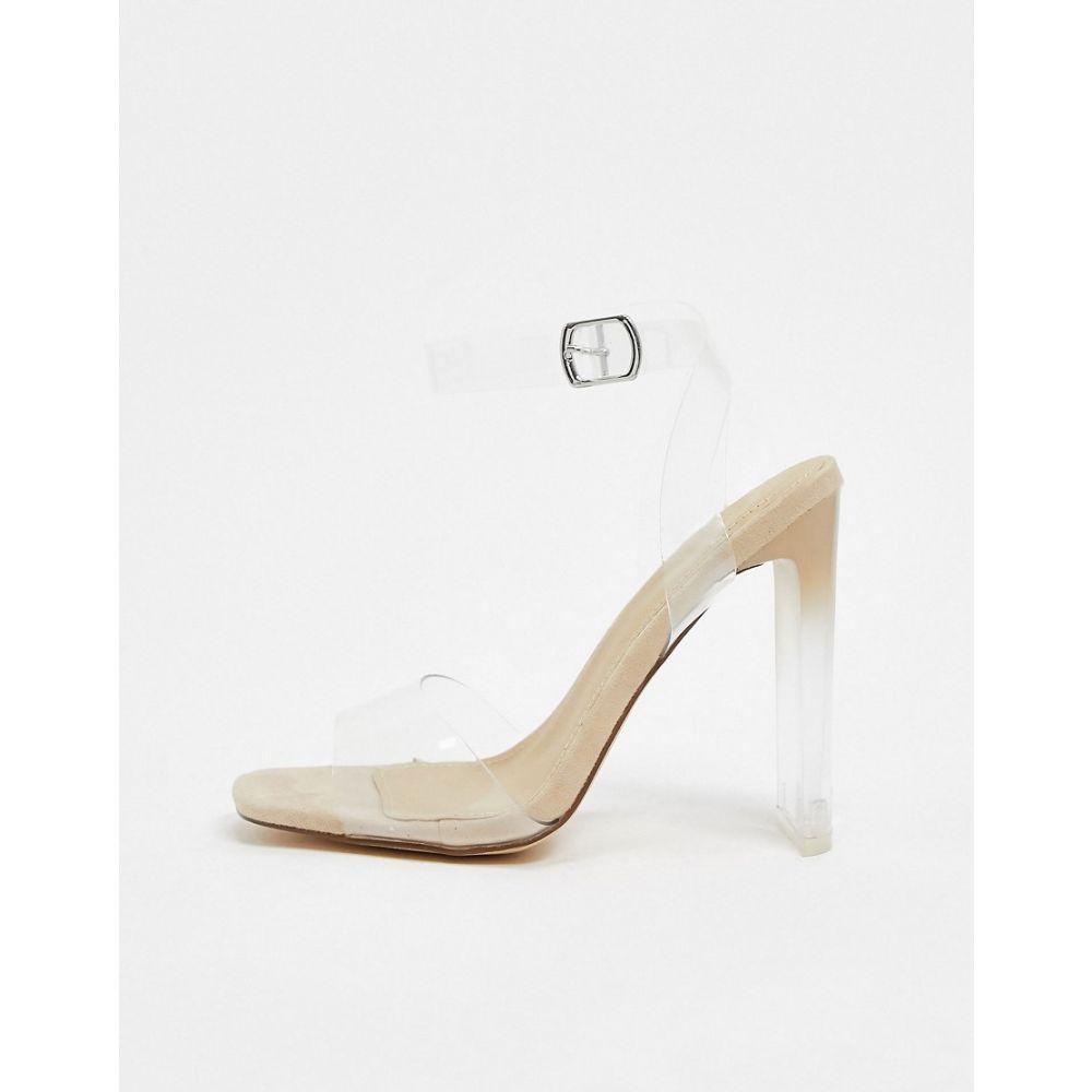 トリュフコレクション Truffle Collection レディース サンダル・ミュール シューズ・靴【clear barely there heeled sandal in beige】Nude microfibre