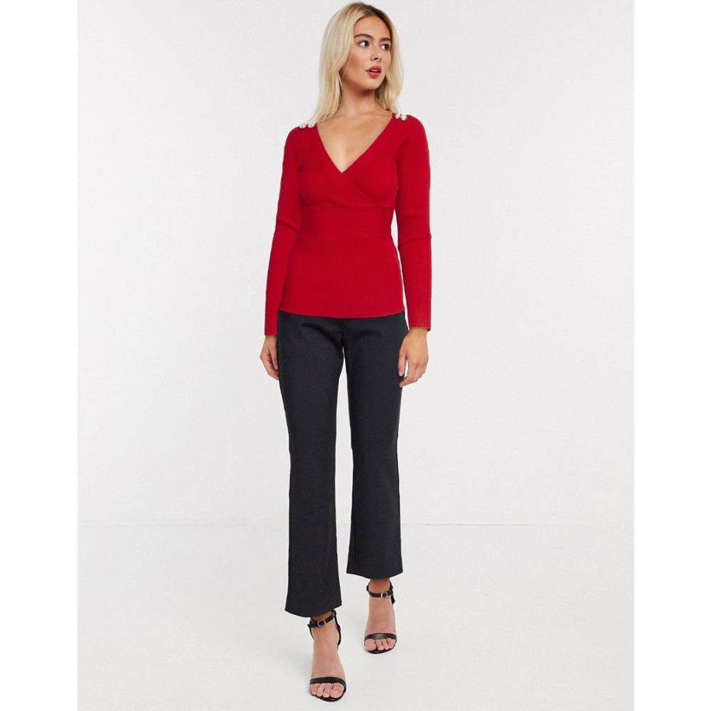 モーガン レーン Morgan レディース トップス 【long sleeve wrap front slim rib knitted top with button shoulder detail in red】Red