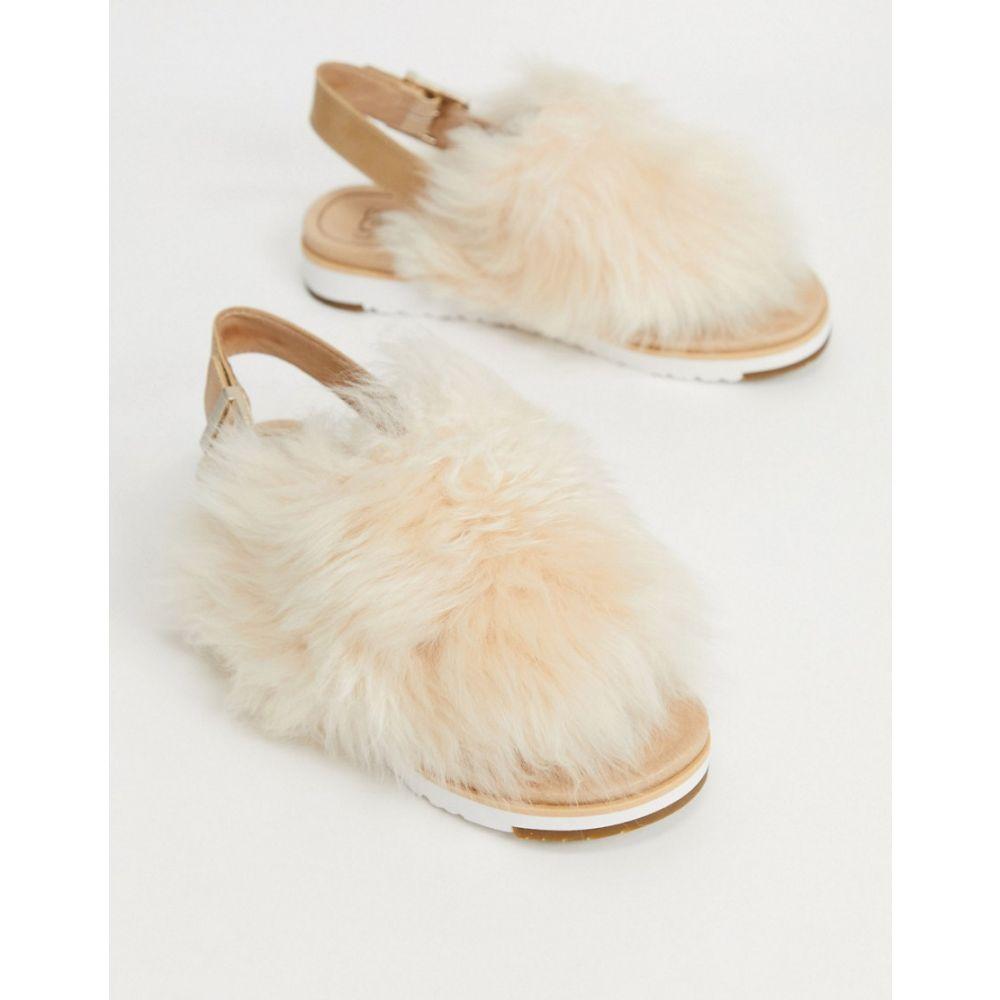 アグ UGG レディース サンダル・ミュール シューズ・靴【leather holly fur slingback sandals in beige】Beige