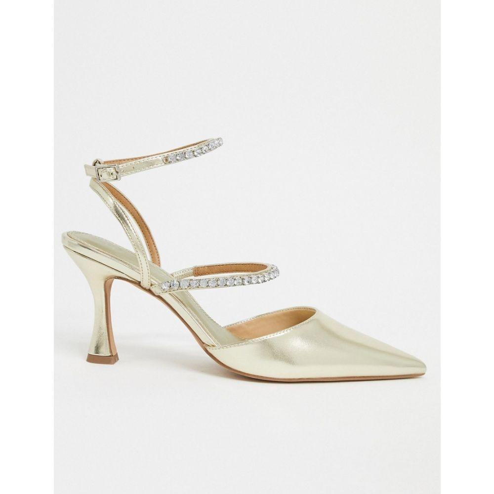 エイソス ASOS DESIGN レディース ヒール シューズ・靴【Star embellished pointed mid-heels in gold】Gold