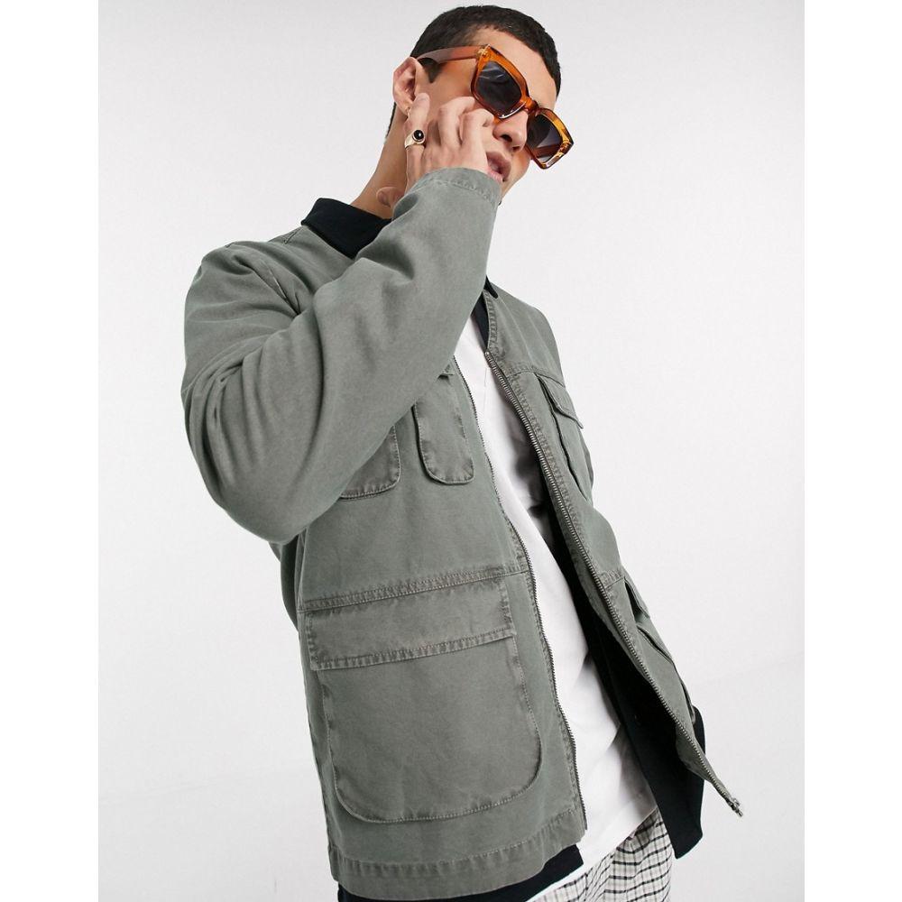 エイソス ASOS DESIGN メンズ ブルゾン ミリタリージャケット アウター【collarless bomber jacket with utility pockets in khaki】Khaki