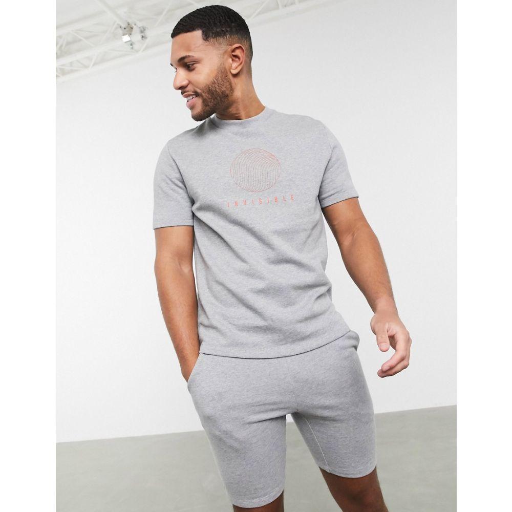 エイソス ASOS DESIGN メンズ スウェット・トレーナー トップス【co-ord short sleeve sweatshirt in grey marl with text print】Grey marl