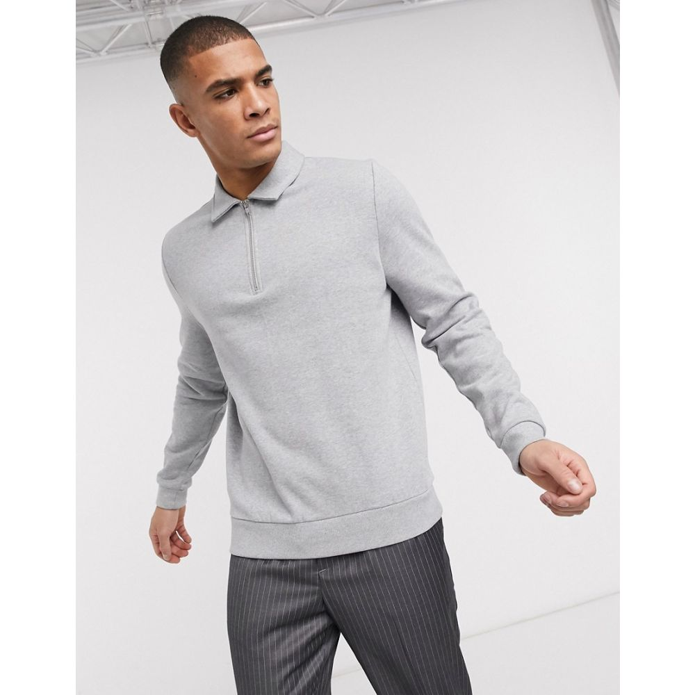 エイソス ASOS DESIGN メンズ スウェット・トレーナー トップス【organic half zip sweatshirt with harrington collar in grey marl】Grey marl