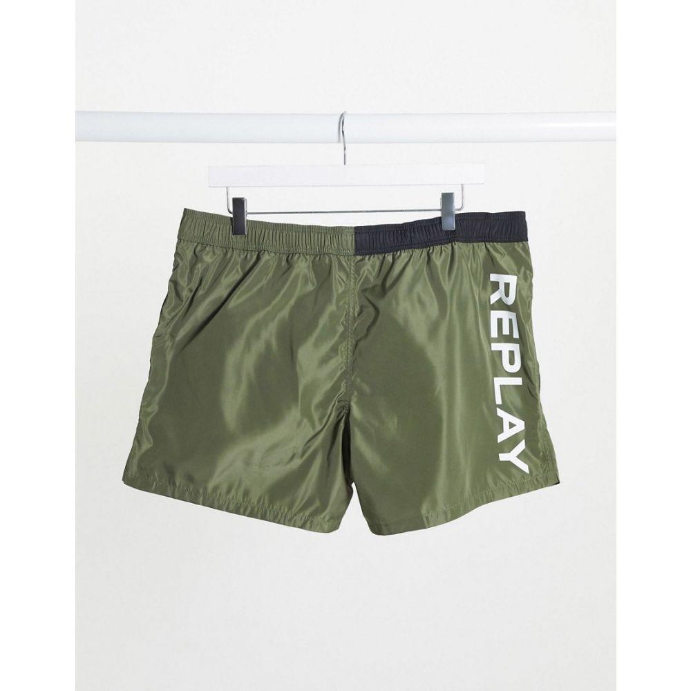リプレイ Replay メンズ 海パン ショートパンツ 水着・ビーチウェア【back logo swim shorts in khaki】Khaki