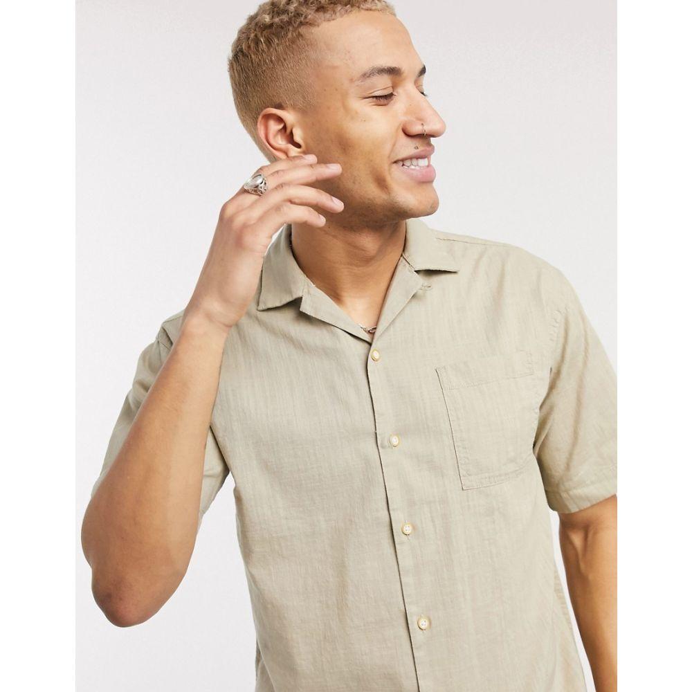 ジャック アンド ジョーンズ Jack & Jones メンズ 半袖シャツ トップス【Originals short sleeve shirt in beige】Crockery