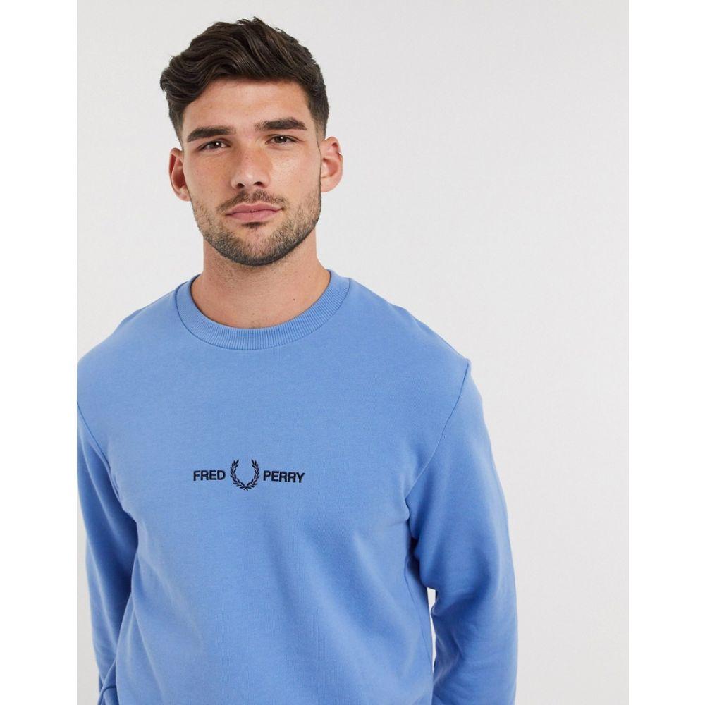 フレッドペリー Fred Perry メンズ スウェット・トレーナー トップス【embroidered logo crew neck sweat in blue】Riviera