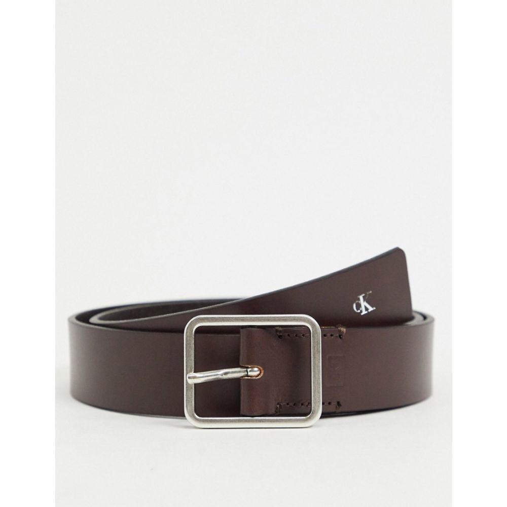 カルバンクライン Calvin Klein Jeans メンズ ベルト 【uniform workman leather belt 35mm】Brown