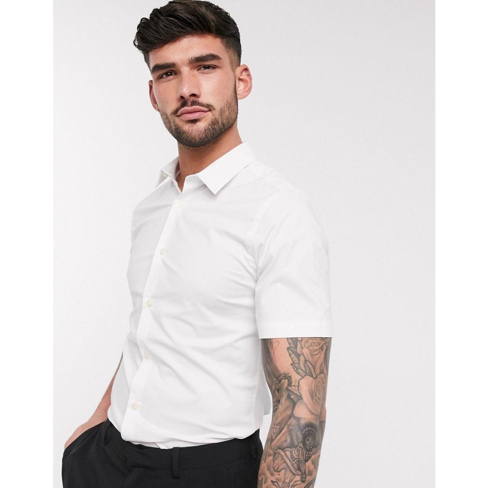 フレンチコネクション French Connection メンズ 半袖シャツ トップス【plain short sleeve shirt】White