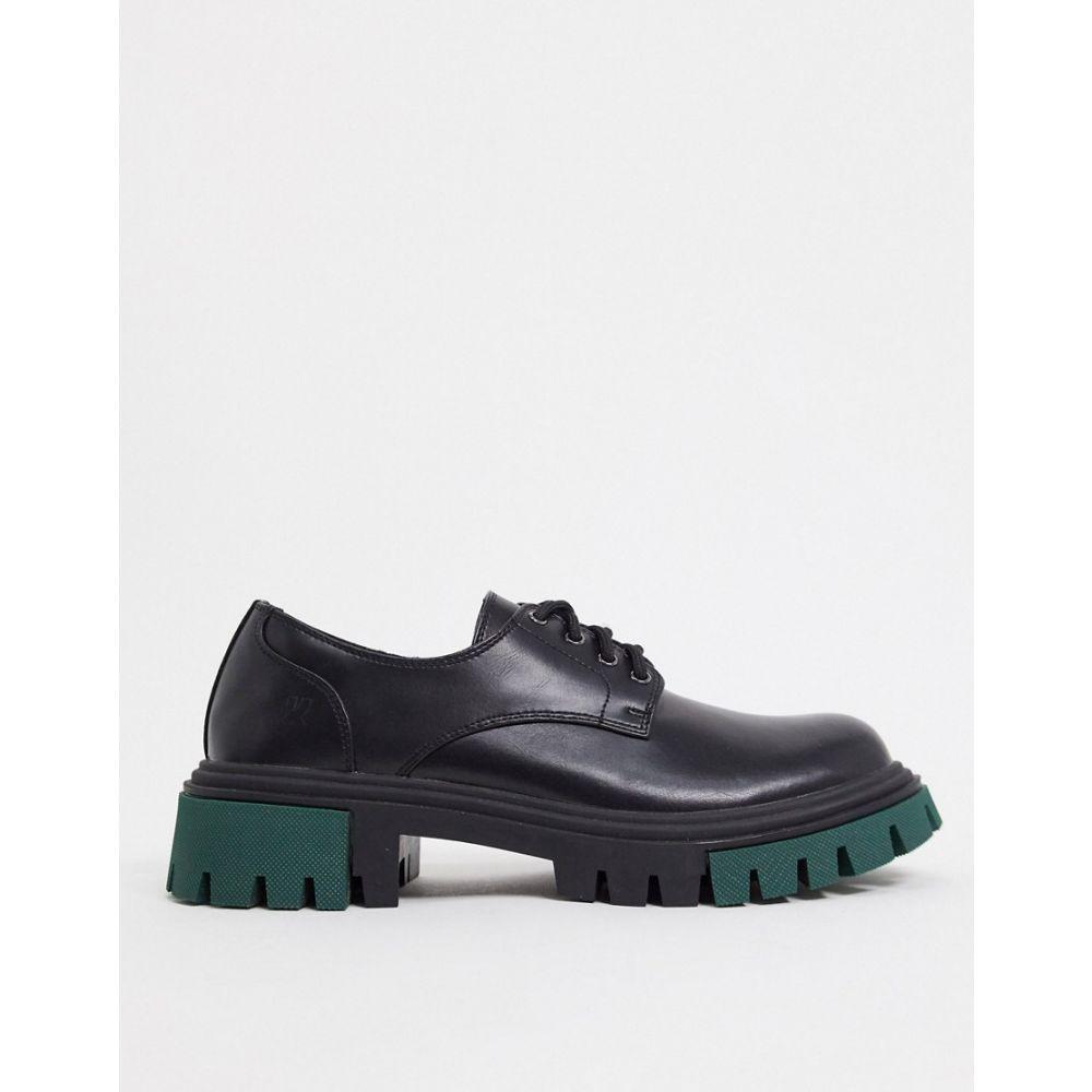 コイフットウェア Koi Footwear メンズ 革靴・ビジネスシューズ メダリオン チャンキーヒール シューズ・靴【chunky brogue in black with green detail】Black