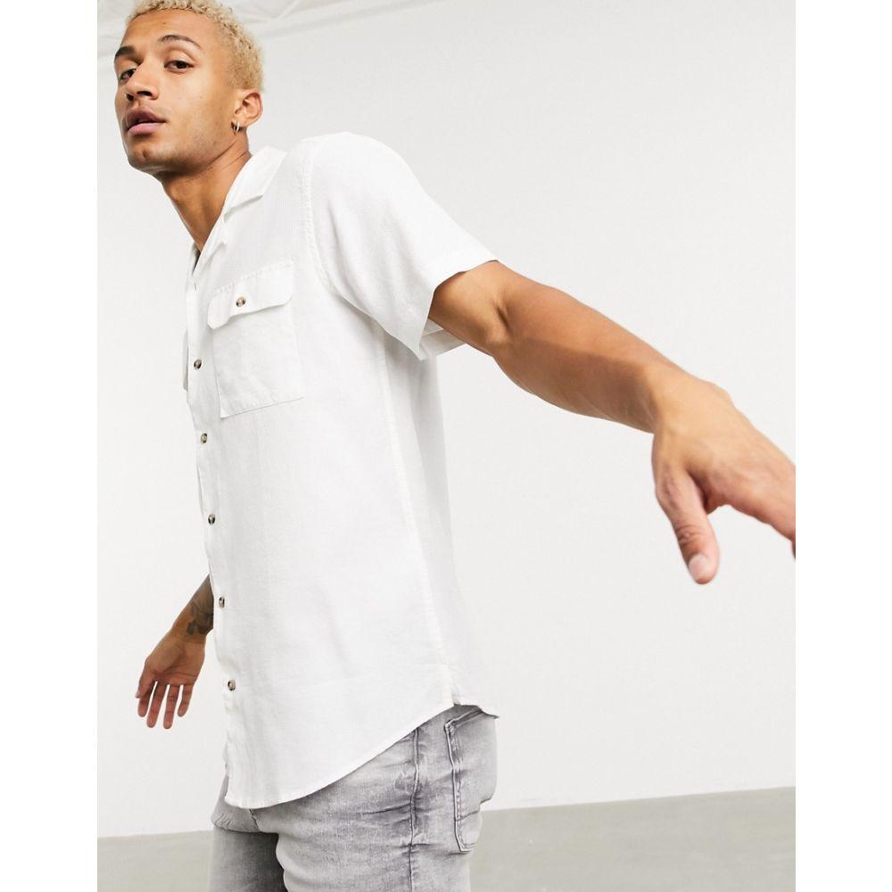 オンリーアンドサンズ Only & Sons メンズ シャツ トップス【utility shirt with double pocket in white】White