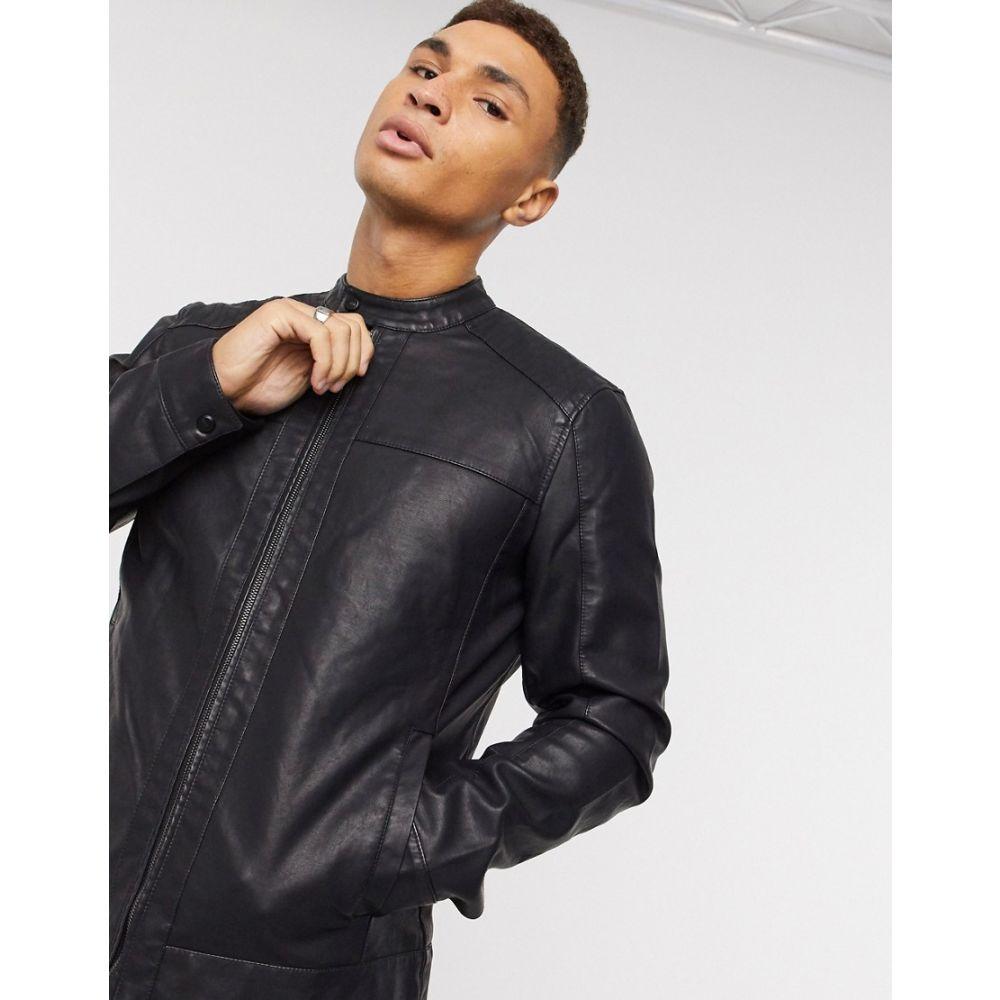 オンリーアンドサンズ Only & Sons メンズ レザージャケット アウター【faux leather jacket with racer neck in black】Black