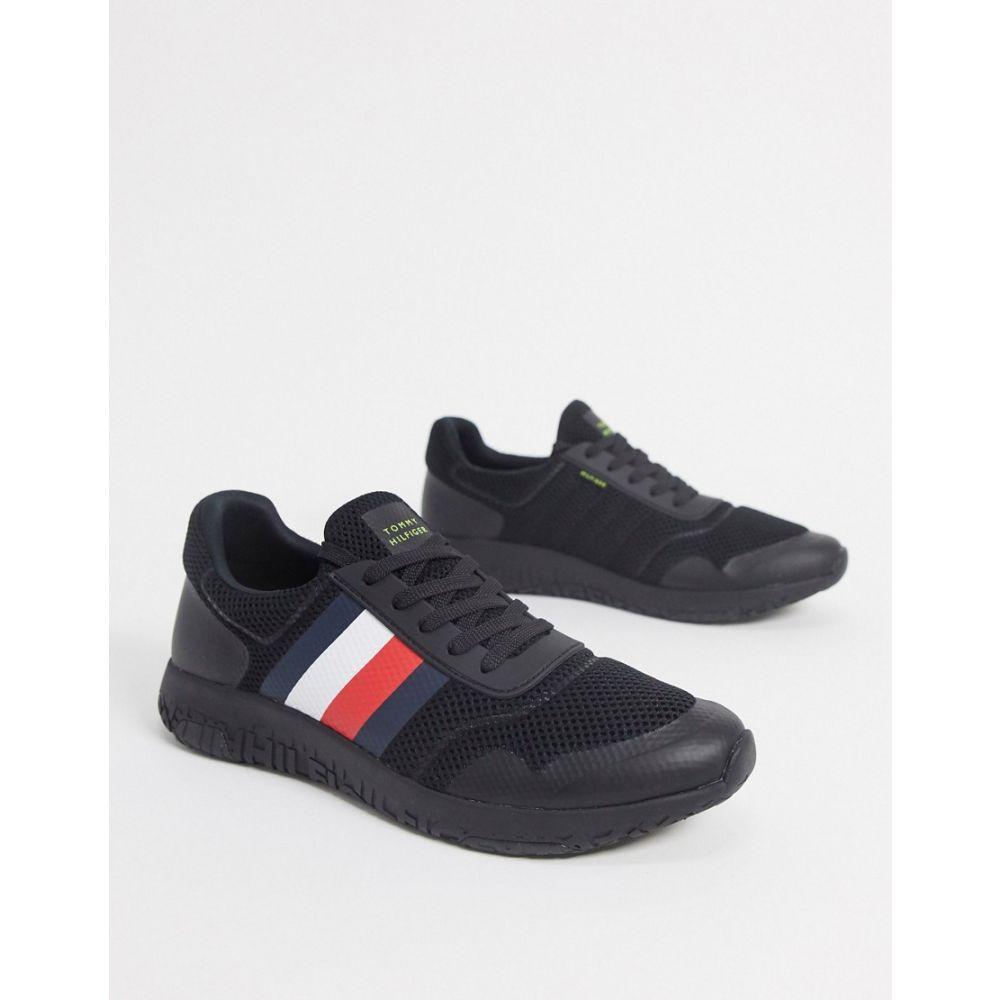 トミー ヒルフィガー Tommy Hilfiger メンズ ランニング・ウォーキング シューズ・靴【corporate stripe lightweight knit runners in black】Black