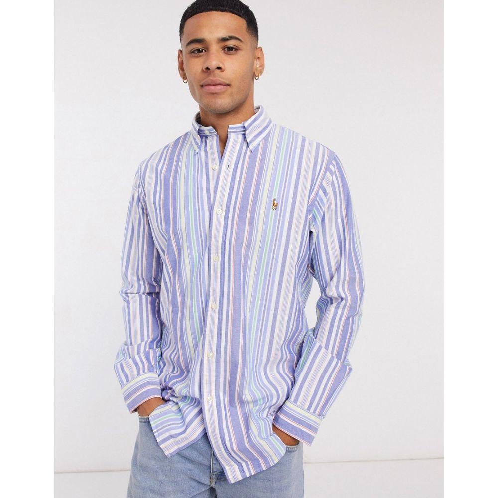 ラルフ ローレン Polo Ralph Lauren メンズ シャツ トップス【multi player logo varied stripe oxford shirt custom regular fit buttondown in blue multi】Multi