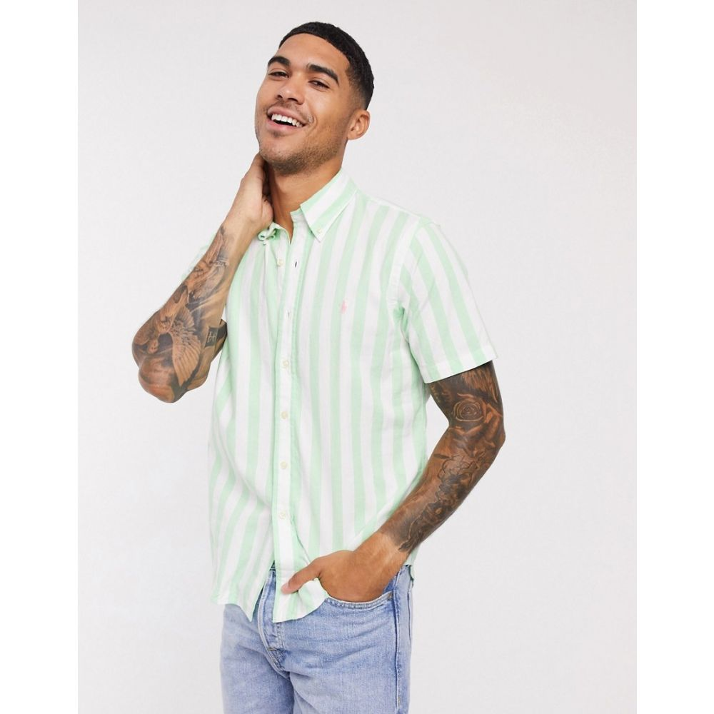 ラルフ ローレン Polo Ralph Lauren メンズ 半袖シャツ トップス【player logo block stripe short sleeve beach poplin shirt custom regular fit buttondown in green/white】Green