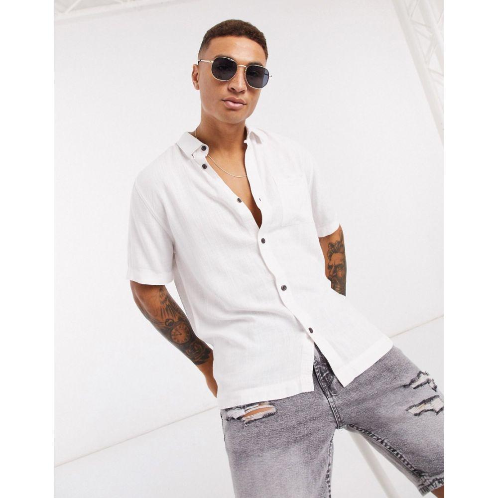 リバーアイランド River Island メンズ 半袖シャツ トップス【short sleeve linen shirt in white】White