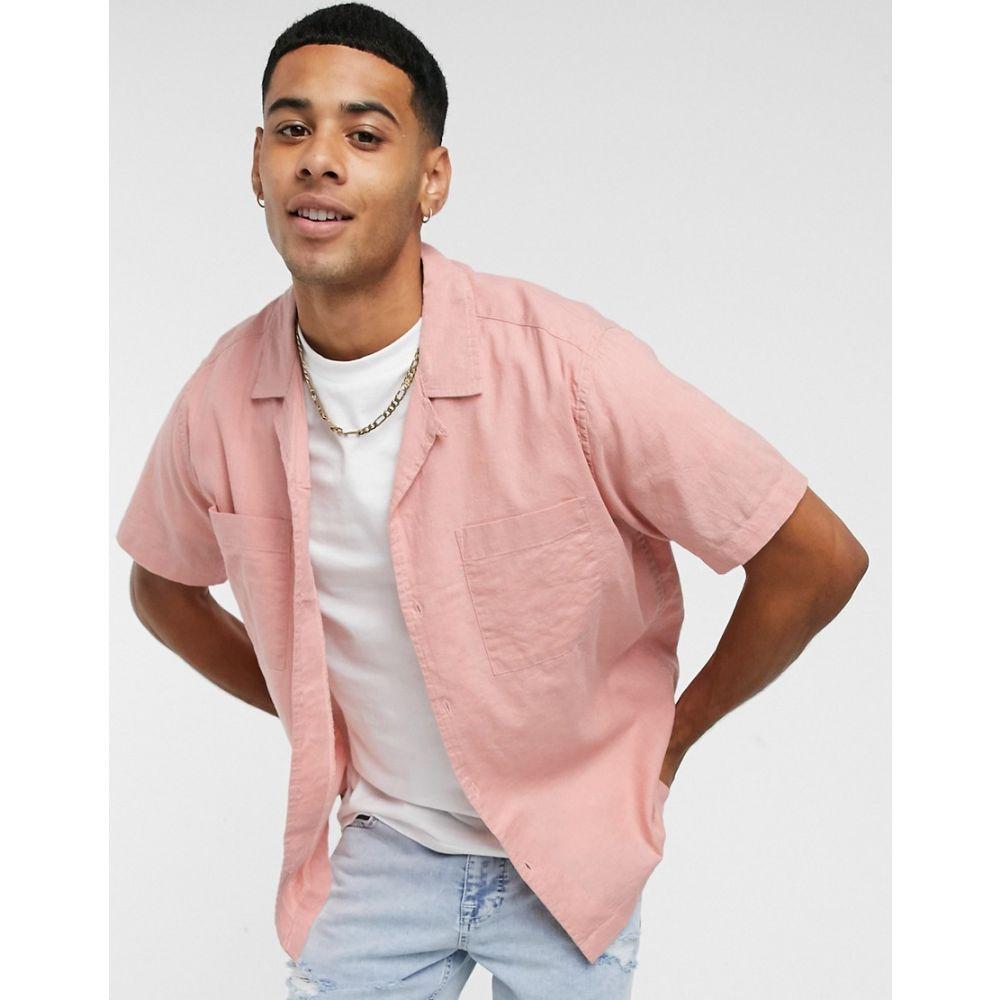 トップマン Topman メンズ 半袖シャツ トップス【short sleeve linen shirt with revere collar in pink】Pink