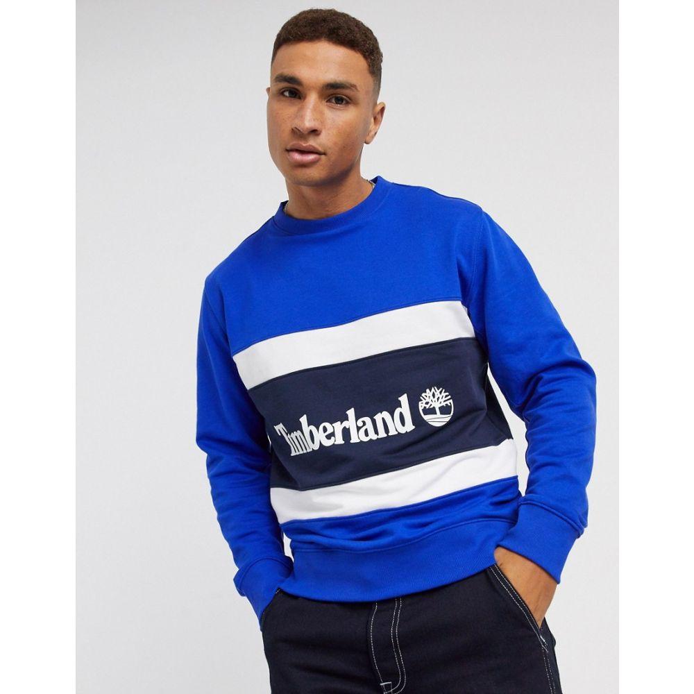 ティンバーランド Timberland メンズ スウェット・トレーナー トップス【Colourblock sweatshirt in blue】Surf the web-dark sa