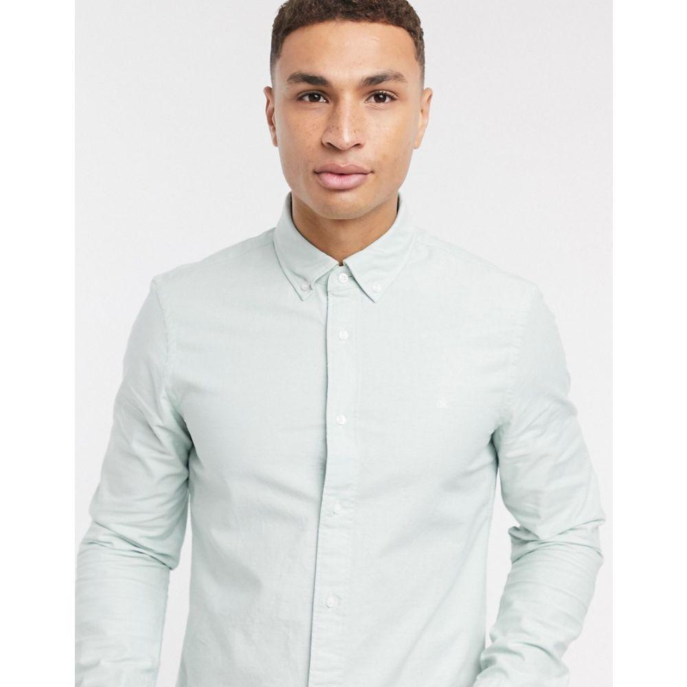 カルバンクライン Calvin Klein メンズ シャツ トップス【stretch oxford slim fit long sleeve shirt】Green