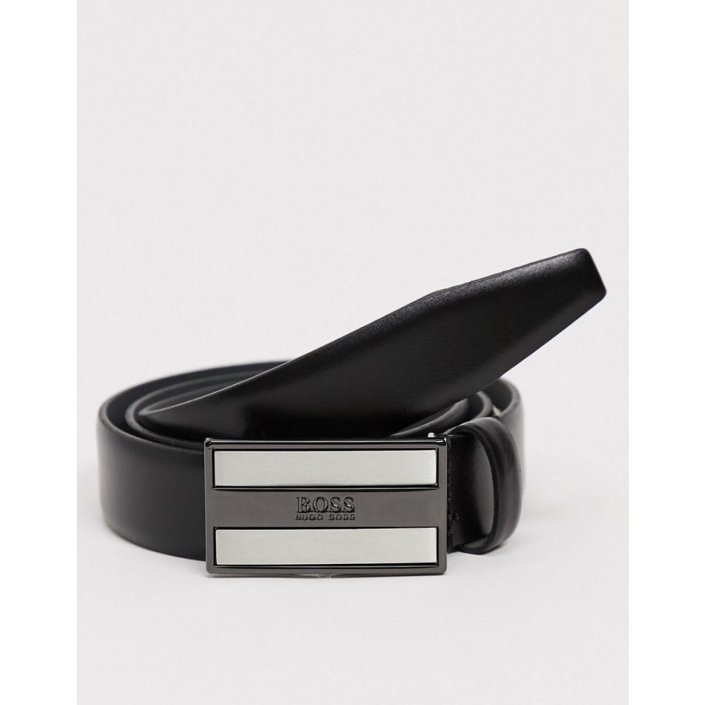 ヒューゴ ボス BOSS メンズ ベルト 【Bexter leather buckle logo belt in black】Black