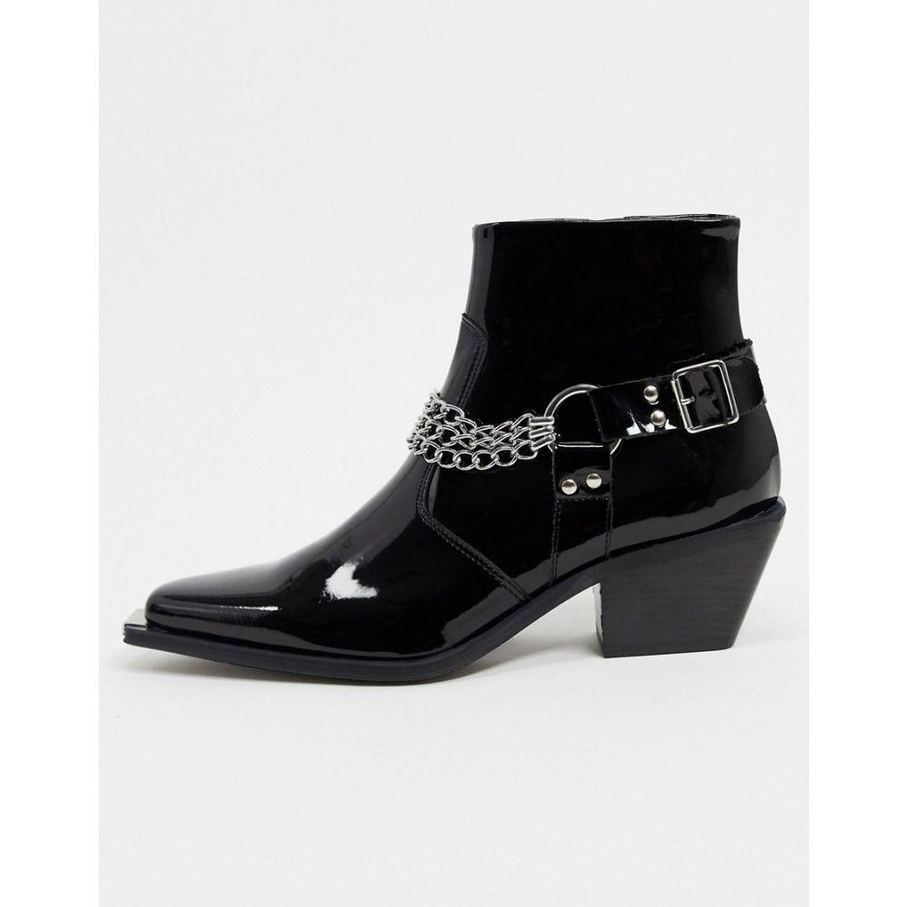エイソス ASOS EDITION メンズ ブーツ シューズ・靴【patent cuban boot with toe cap and chains】Black