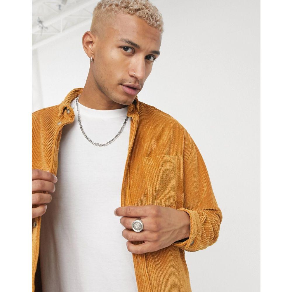 エイソス ASOS DESIGN メンズ シャツ トップス【90s oversized style cord shirt in mustard】Mustard