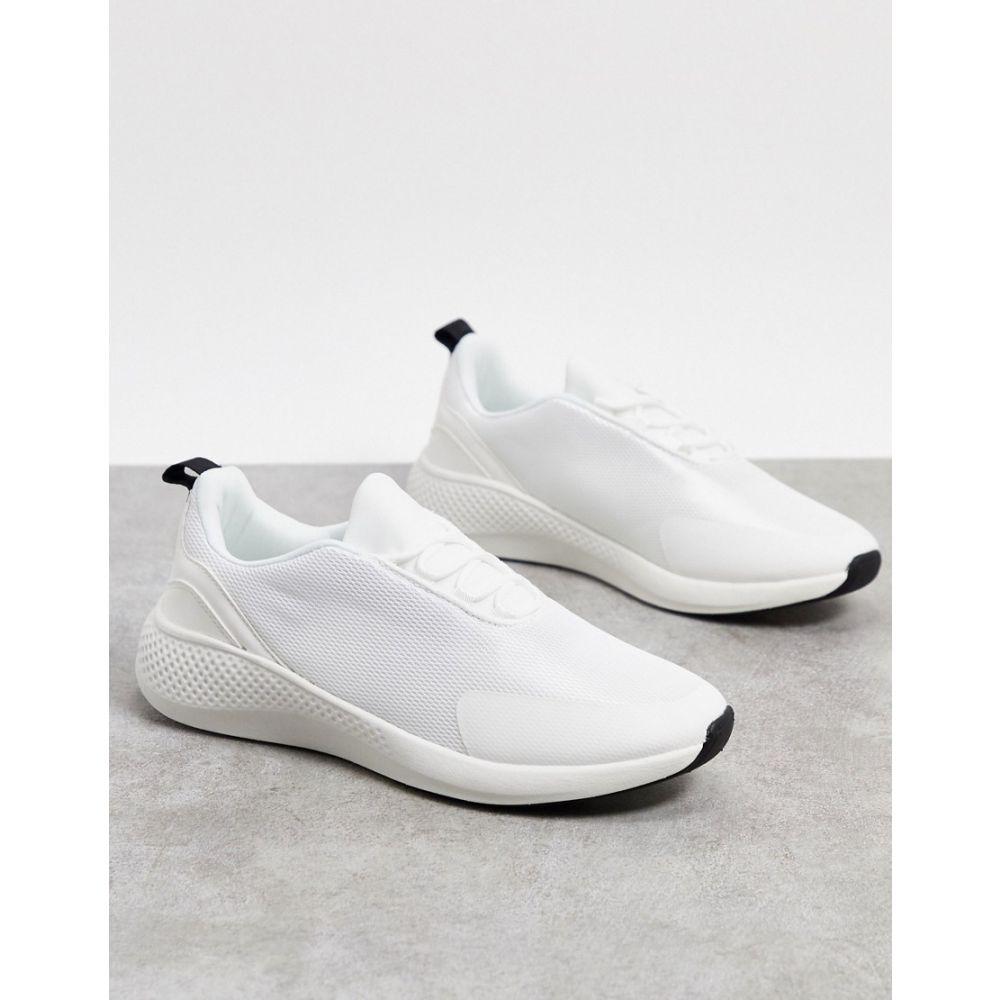 エイソス ASOS DESIGN メンズ スニーカー シューズ・靴【mesh trainers in white】White