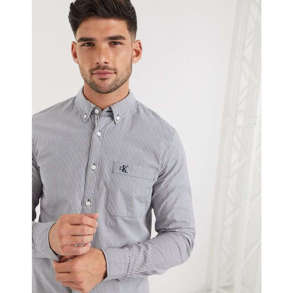Jeans sleeve shirt】Navy シャツ Klein Calvin メンズ Klein stripe long カルバンクライン washed トップス【Calvin