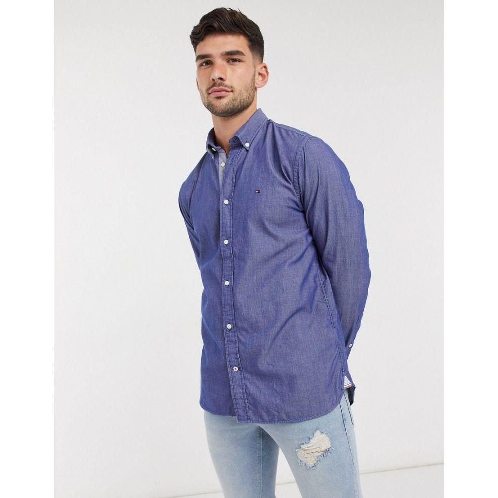 トミー ヒルフィガー Tommy Hilfiger メンズ シャツ トップス【two tone stripe dobby long sleeve shirt】Blue