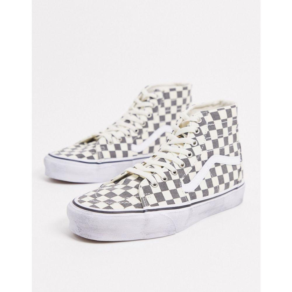 ヴァンズ Vans メンズ スニーカー シューズ・靴【SK8-Hi Tapered checkerboard trainers in washed black/white】asphalt/tru