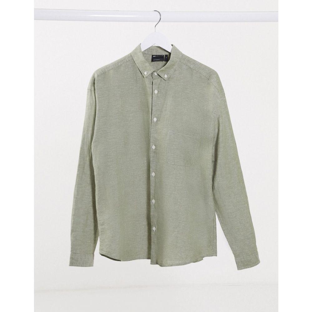 エイソス ASOS DESIGN メンズ シャツ トップス【relaxed fit button collar linen shirt in khaki】Khaki