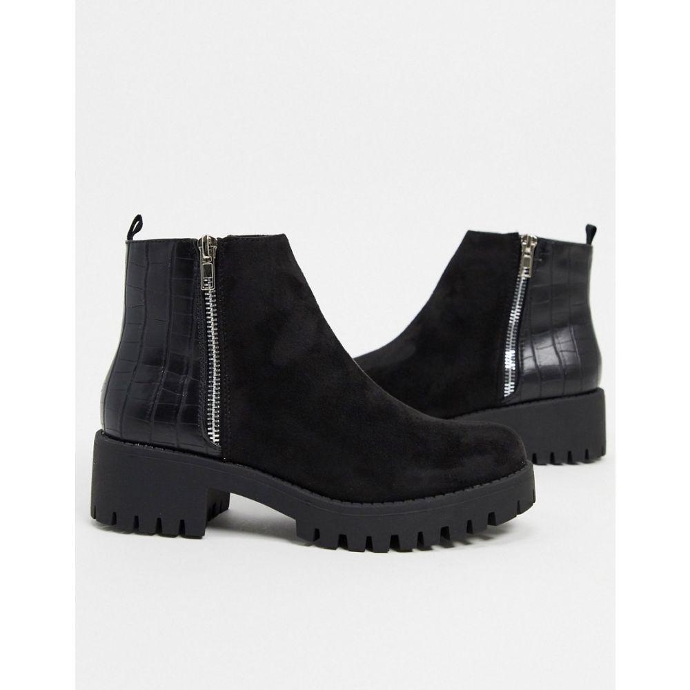 トリュフコレクション Truffle Collection レディース ブーツ チャンキーヒール シューズ・靴【side zip chunky boots in black】Black micro