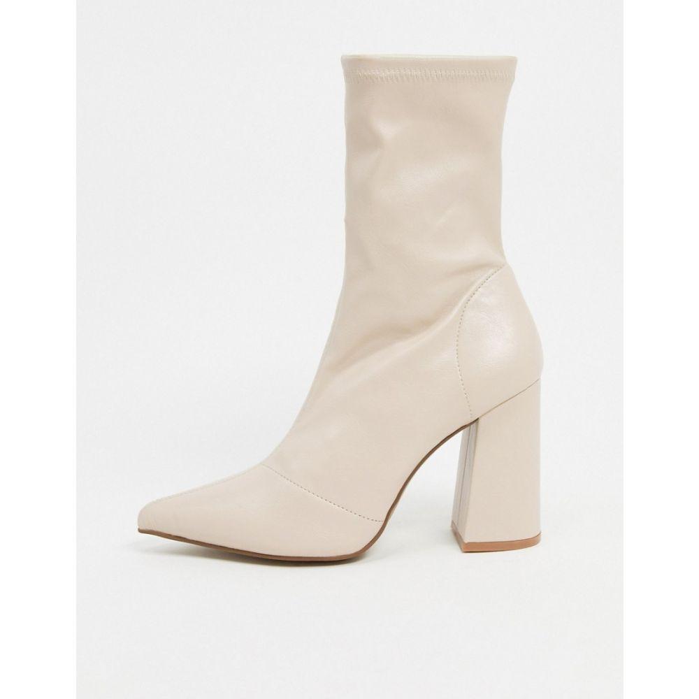 トリュフコレクション Truffle Collection レディース ブーツ シューズ・靴【heeled sock boots in beige】Beige