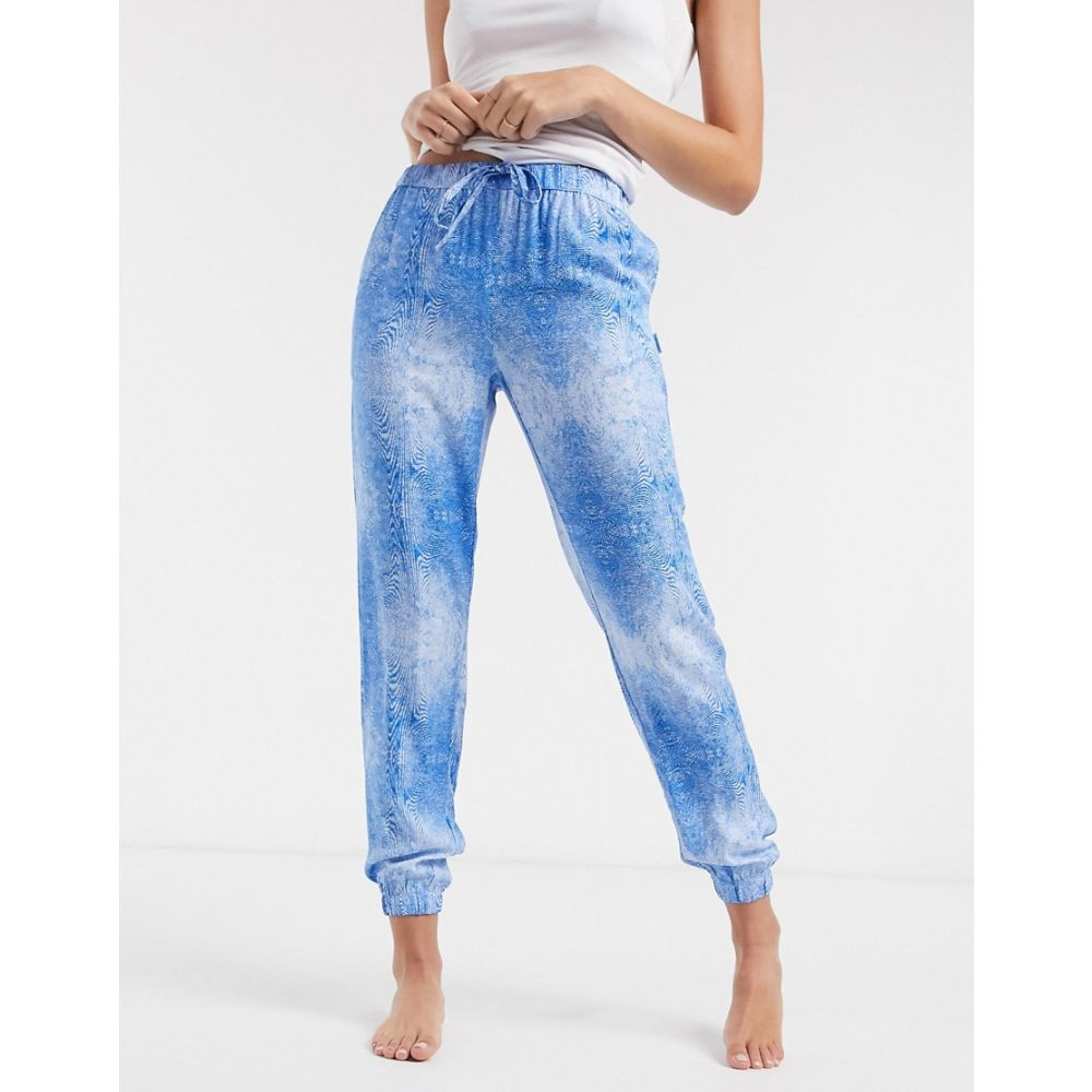 カルバンクライン Calvin Klein レディース ジョガーパンツ ボトムス・パンツ【loungewear joggers in chromatic wave print】Blue