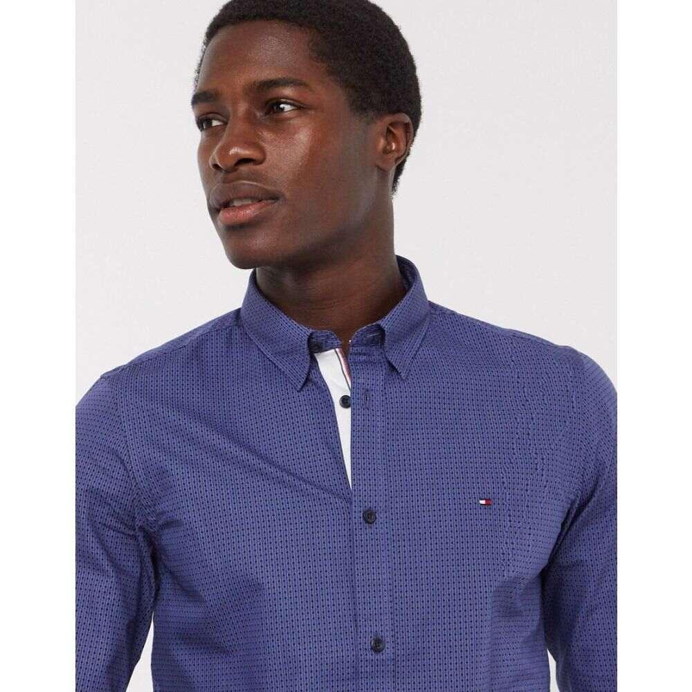 トミー ヒルフィガー Tommy Hilfiger メンズ シャツ トップス【slim square print long sleeve shirt】Blue