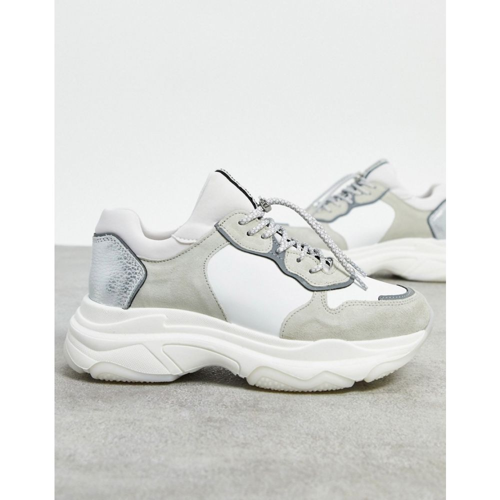 ブロンクス Bronx レディース スニーカー チャンキーヒール シューズ・靴【BRONX chunky trainers in white leather】White
