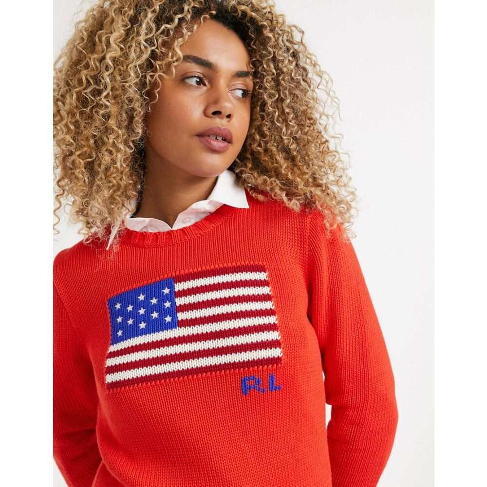 ラルフ ローレン Polo Ralph Lauren レディース ニット・セーター トップス【flag knited sweater in red】African red