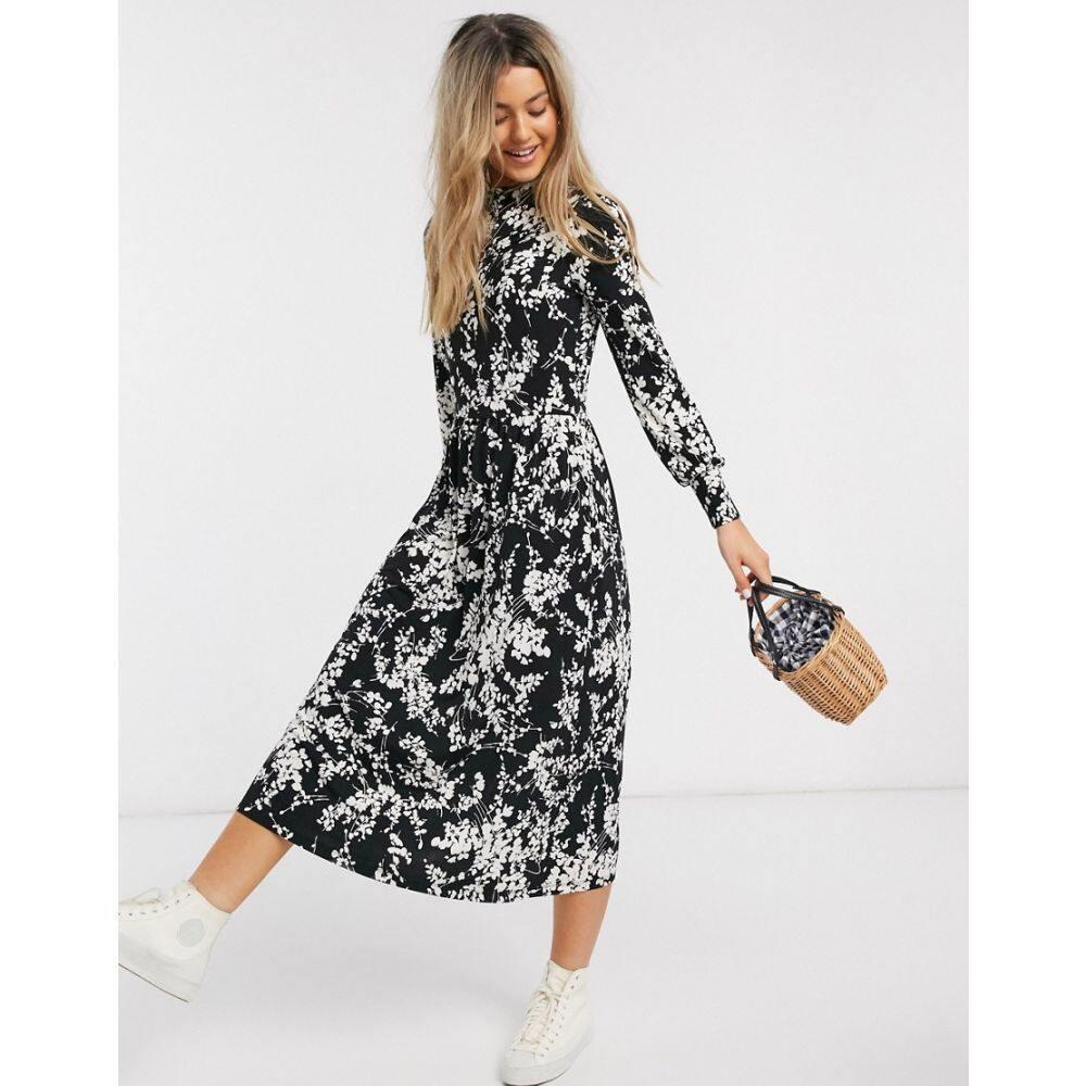 オアシス Oasis レディース ワンピース ワンピース・ドレス【floral print midi dress in black】Multi black