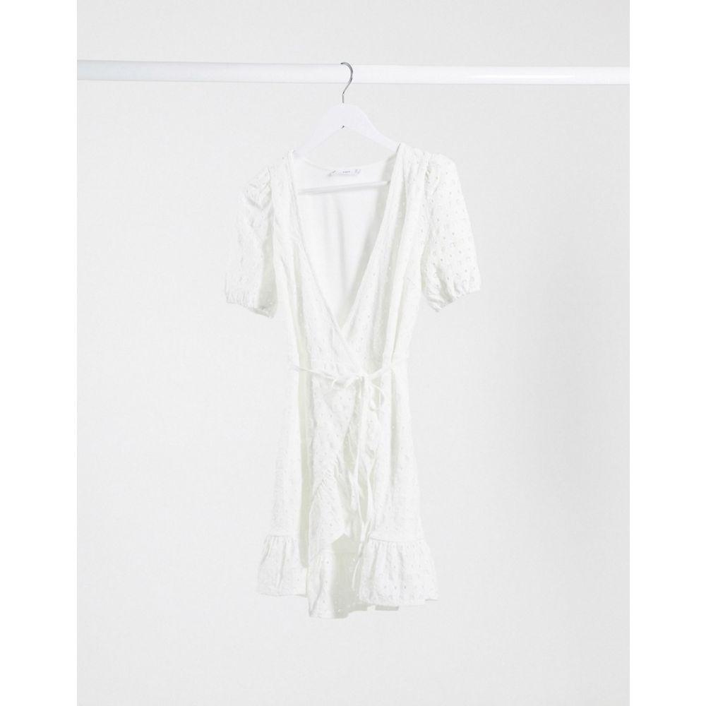 マンゴ Mango レディース ワンピース ラップドレス ミニ丈 ワンピース・ドレス【wrap detail mini dress in white broderie】White