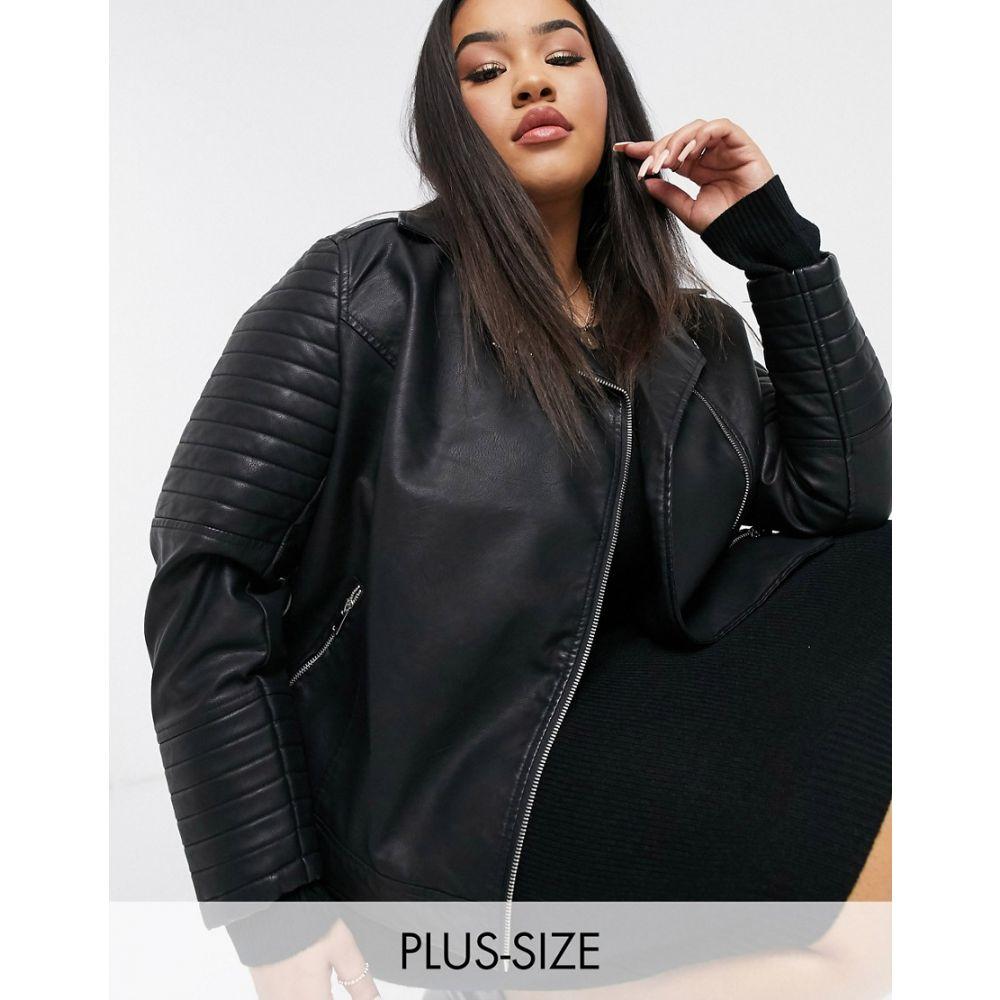 ニュールック New Look Plus レディース レザージャケット ライダース アウター【New Look Curve leather look biker jacket in black】Black