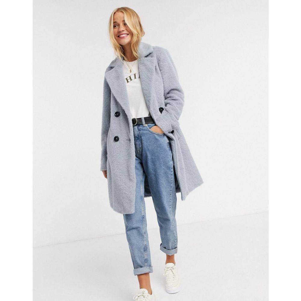 ニュールック New Look レディース コート ロングコート アウター【fluffy longline coat in blue】Blue