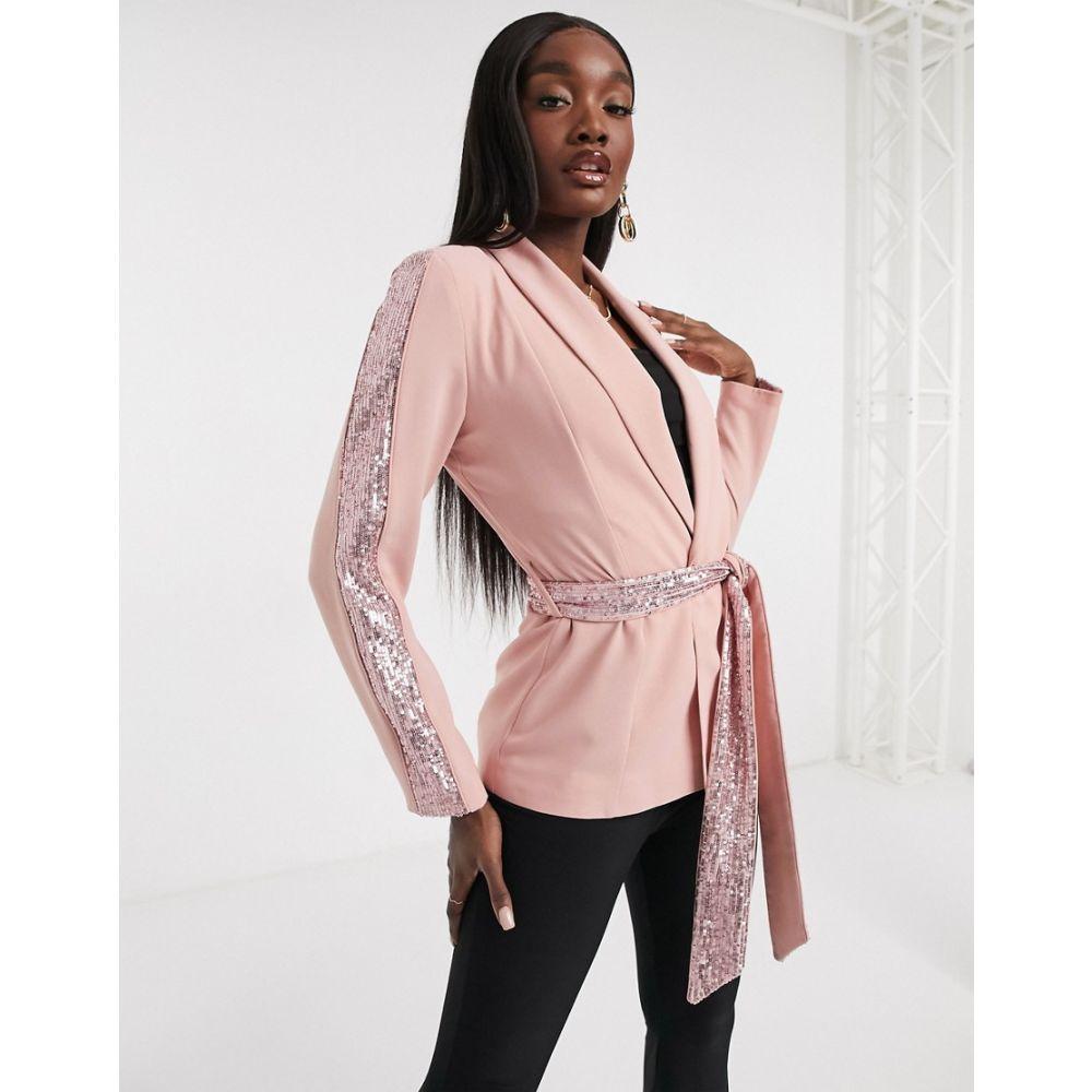 スーツ・ジャケット &rose レディース insert gold U アウター【Forever sequin Forever Unique in blazer フォーエバーユニーク pink】Pink