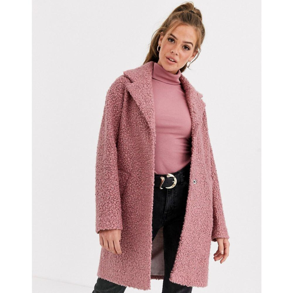 エイソス ASOS DESIGN レディース コート アウター【textured cocoon coat in pink】Pink