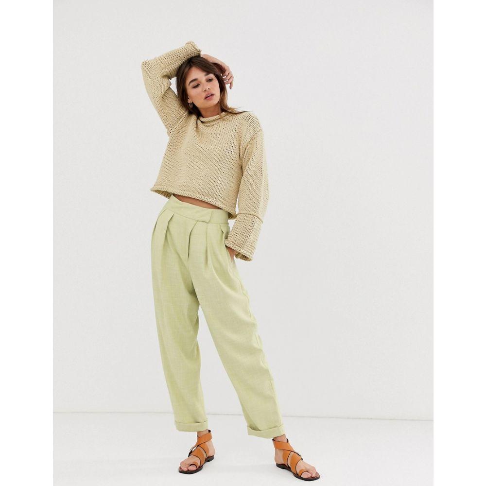 エイソス ASOS WHITE レディース ボトムス・パンツ 【tab detail trouser】Green