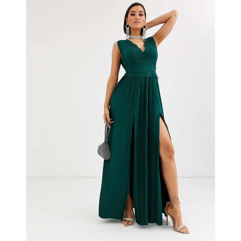エイソス ASOS DESIGN レディース ワンピース マキシ丈 ワンピース・ドレス【Fuller Bust premium lace insert pleated maxi dress】Forest green