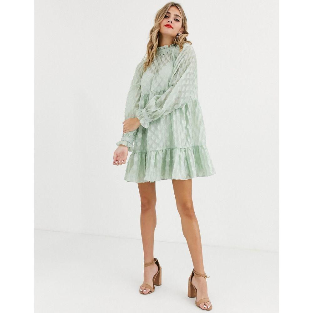 エイソス ASOS DESIGN レディース ワンピース ティアードドレス ワンピース・ドレス【high neck tiered mini smock dress in textured organza】Sage green