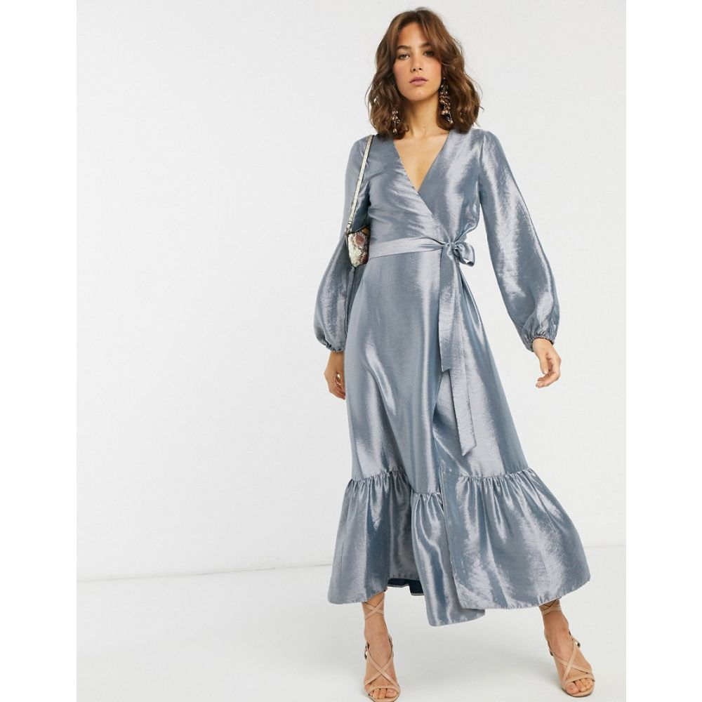 エイソス ASOS DESIGN レディース ワンピース ラップドレス ミドル丈 ワンピース・ドレス【wrap midi dress in metallic taffeta】Silver
