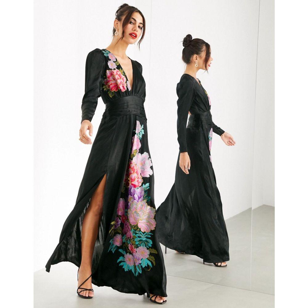 エイソス ASOS EDITION レディース ワンピース マキシ丈 ワンピース・ドレス【cut out maxi dress with placement embroidery】Black