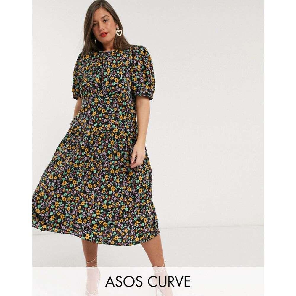 エイソス ASOS Curve レディース ワンピース ワンピース・ドレス【ASOS DESIGN Curve midi tea dress with dropped waist in floral print】Dark based floral
