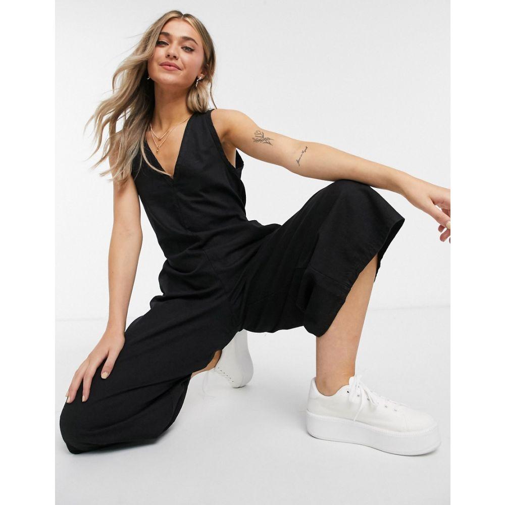 エイソス レディース ワンピース ドレス オールインワン Black サイズ交換無料 ASOS DESIGN ジャンプスーツ black jumpsuit denim soft 全国どこでも送料無料 Vネック 日本最大級の品揃え in slouchy neck v デニム