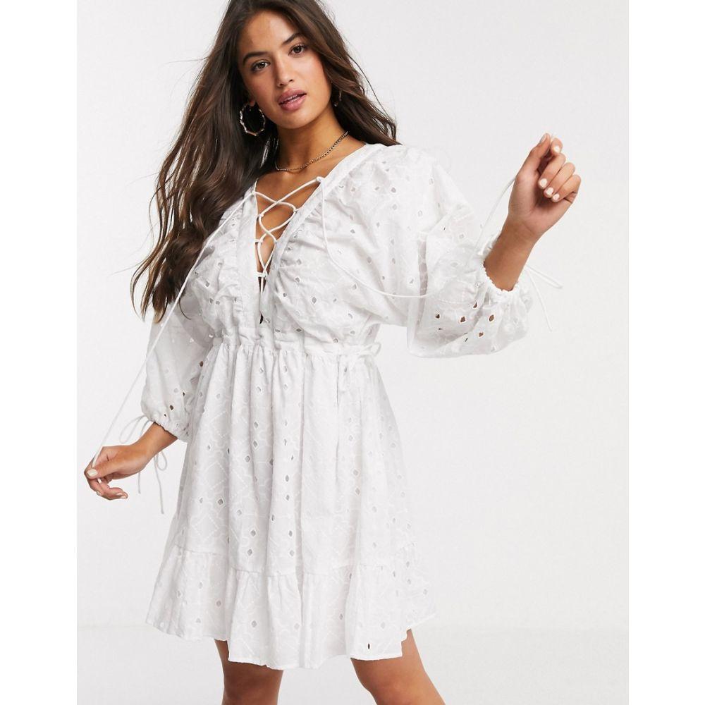 エイソス ASOS DESIGN レディース ワンピース レースアップ ミニ丈 ワンピース・ドレス【broderie lace up mini dress in white】White